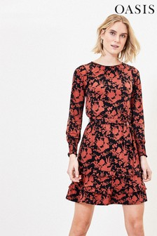 Oasis Black/Red Floral Tiered Dress