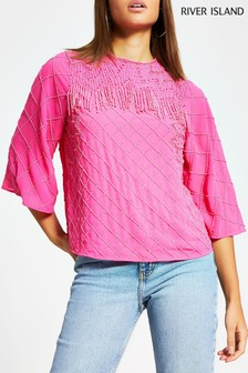 River Island Pink Bright Sequin Beaded Top