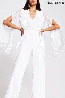 River Island White Tassel Trim Jumpsuit