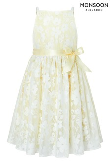 Monsoon Yellow Lucille Floral Jacquard Dress