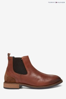 Tommy Hilfiger Brown Elevated Leather Mix Chelsea Boots