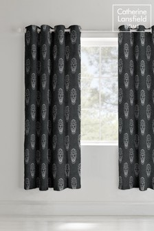 Skulls Lined Eyelet Curtains by Catherine Lansfield