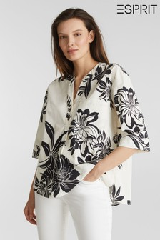 Esprit Natural Cotton Blouse With Big Flower Print And 3/4 Sleeves