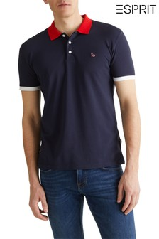 Esprit Blue Polo With Differently Coloured Sleeve Edges And Collar