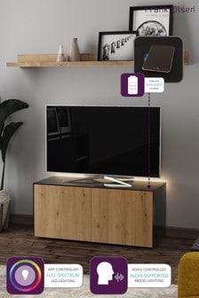 Frank Olsen Smart LED Black and Oak Medium TV Unit