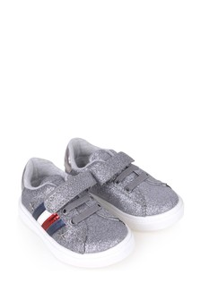 Girls Silver Logo Trainers