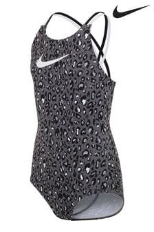 Nike Black Animal Print Swimsuit