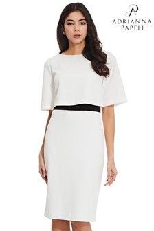 Adrianna Papell White Knit Crepe Pop Over Sheath Dress