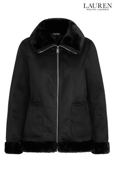 Lauren Ralph Lauren® Black Suede Fur Trim Aviator Jacket