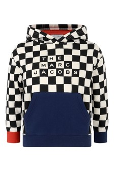 Boys Black Check Cotton Hooded Sweater