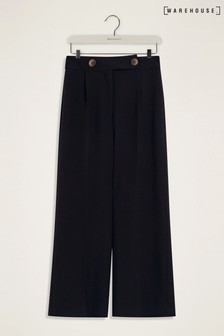 Warehouse Black Button Tab Wide Crop Trousers