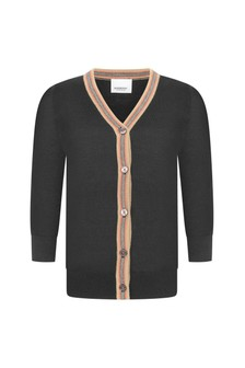Boys Black Wool Cardigan