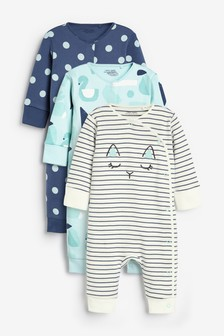 3 Pack GOTS Organic Abstract Character Footless Sleepsuits (0mths-3yrs)