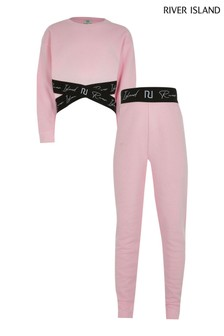 River Island Pink Cross Over Sweater Set