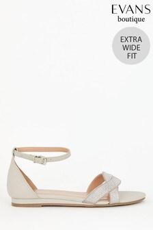 Evans Extra Wide Fit Grey Diamanté Mini Wedge Heeled Sandals