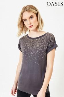 Oasis Grey Embellished T-Shirt