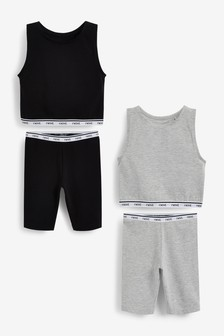 2 Pack Longline Short Pyjamas With Vest Top (3-16yrs)