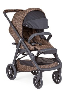 Fendi Kids Brown Logo Baby Stroller