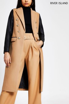 River Island Dark Beige Dark Contrast Sleeve Military Coat