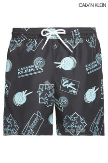 Calvin Klein Black CK Wave Print Medium Drawstring Trunks
