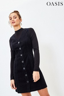Oasis Cord Button Shift Dress