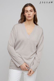 Jigsaw Grey Slouchy Merino V-Neck Jumper