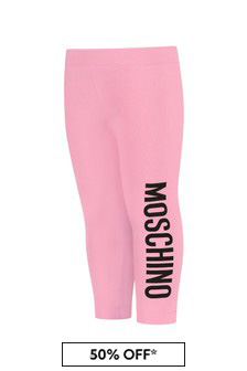 Moschino Kids Baby Girls Pink Cotton Leggings