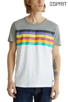 Esprit White T-Shirt With Horizontal Stripes In Rainbow Colours