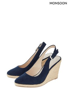 Monsoon Blue Sasha Slingback Wedge Shoes