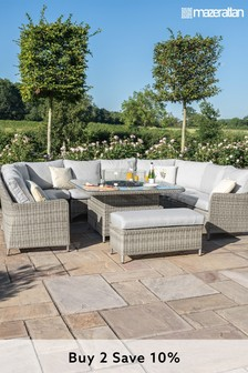 Oxford Royal U Shaped Sofa Set With Fire Pit Coffee Table By Maze Rattan