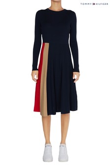 Tommy Hilfiger Blue Icon Pleated Dress