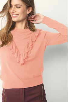 Chevron Ruffle Jumper