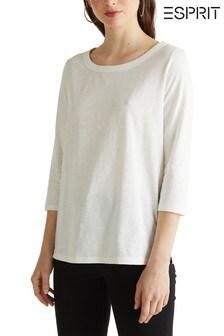 Esprit OCS T-Shirt mit Rundhalsausschnitt und 3/4-Ärmeln, Natur