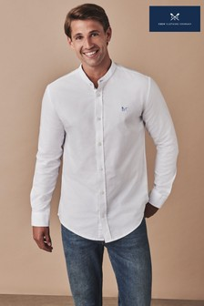 Crew Clothing White Slim Fit Grandad Oxford Shirt