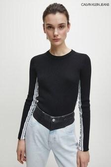 Calvin Klein Black Stripe Logo Sweater