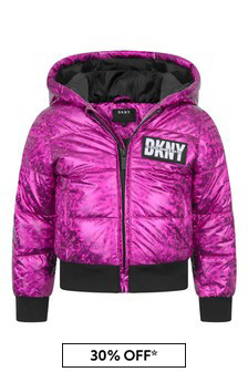 Girls Fuchsia Hooded Quilted Jacket