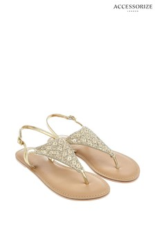 Accessorize Natural Athena Embellished Sandals