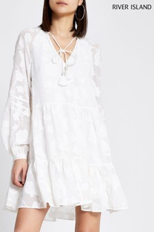 River Island White Jacquard Smock Mini Dress