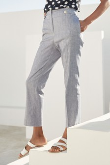 Linen Mix High Waisted Taper Trousers