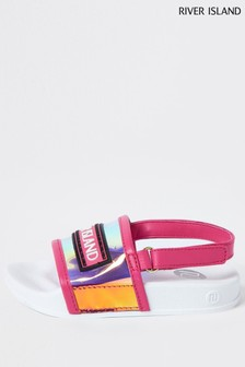 River Island Pink Bright Vinyl Rubber Patch Sliders