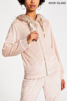 River Island Pink Velour Hoody With Fur Trim