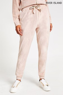 River Island Pink Velour Joggers