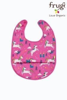 Frugi Pink Recycled Unicorn Print Sleeveless Catcher Bib