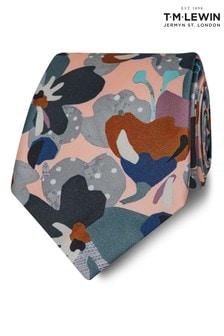 T.M. Lewin Liberty Fabric Wide Pink Treloyhan Silk Tie