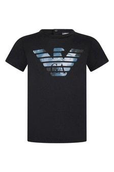 Baby Boys Navy Blue Cotton Logo T-Shirt