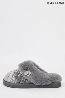 River Island Grey Quilted Faux Fur Lines Closed Toe Mules
