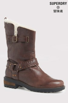 Superdry Tempter Leather Biker Boots