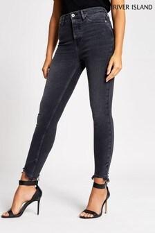 River Island Black Hailey High Rise Bardem Jeans