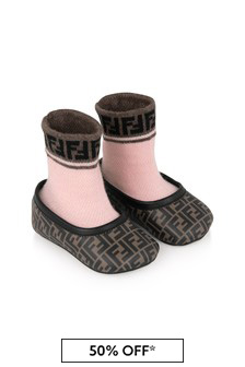 Fendi Kids Baby Girls Brown/Pink Sock Shoes