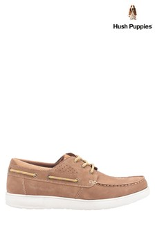 Hush Puppies Tan Liam Lace-Up Boat Shoes